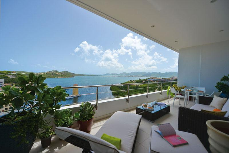 view from downstairs terrace - Moonrise Penthouse in Cupecoy with stunning view - Cupecoy - rentals