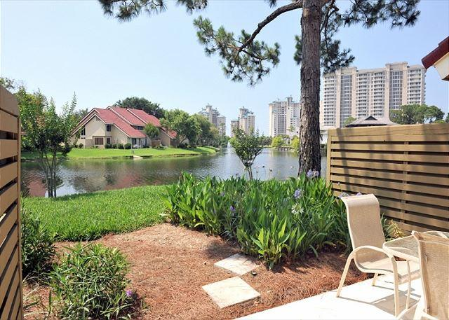 View of the lake from the patio - February is now open for monthly rental. Beautiful villa and pet friendly! - Sandestin - rentals