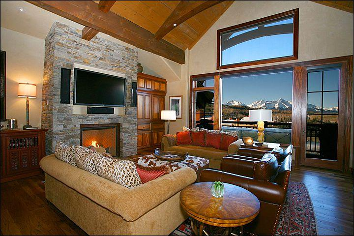 Living Room Boasts Incredible Views, a Flat-Screen TV, and Fireplace (Representative Unit) - Spacious See Forever Village Condo - Close to Telluride Golf Club (6695) - Telluride - rentals