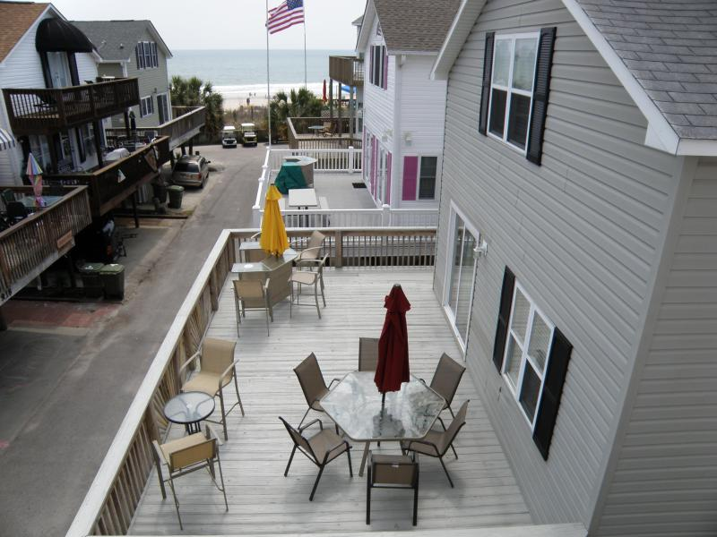 Large Deck for Family entertaining, have your morning coffee and watch the waves! - Ocean Views and Just Steps to the Ocean - Myrtle Beach - rentals