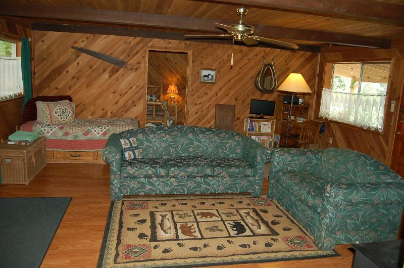 Cozy living room with captain's bed, couches, bedroom beyond has log bed - Romantic Carriage House on the Trinity River - Douglas City - rentals
