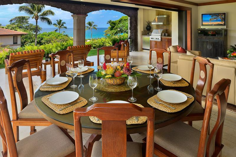 Ocean View Dining For Up To Eight Guests On The Outdoor Patio - Golden Mandarin D102 Wailea Beach Villas - Wailea - rentals