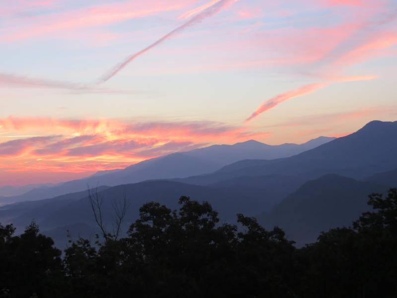 Beautiful sunrise view taken from the main deck of Cloudy Dreams. - Spectacular Smokies Views, 2 Kings, Hot Tub, WIFI! - Gatlinburg - rentals