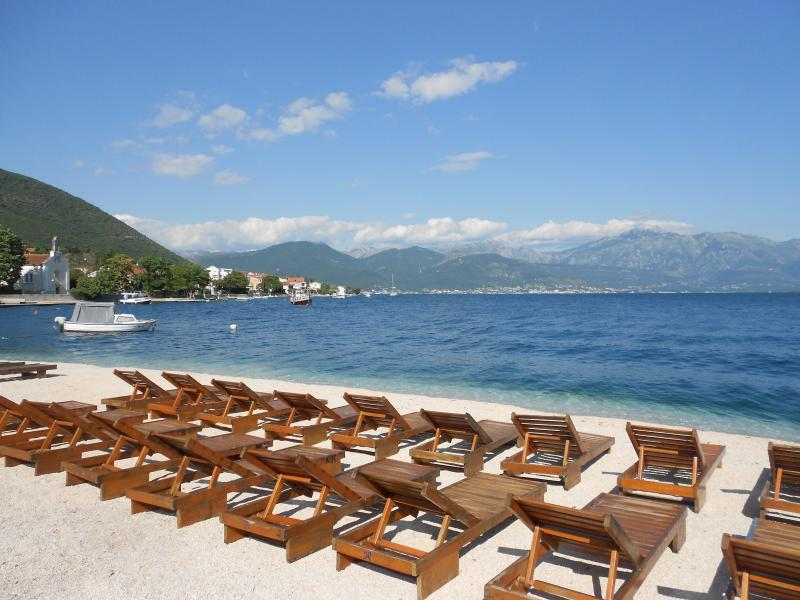 Relax on the beach which looks directly across the bay to Porto Montenegro! - Spacious top floor apartment with wonderful sea views less than 50m away! - Herceg-Novi - rentals