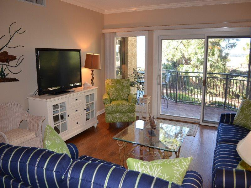 Living Room with Flat Screen at 1887 Beachside Tennis - 1887 Beachside Tennis - Hilton Head - rentals