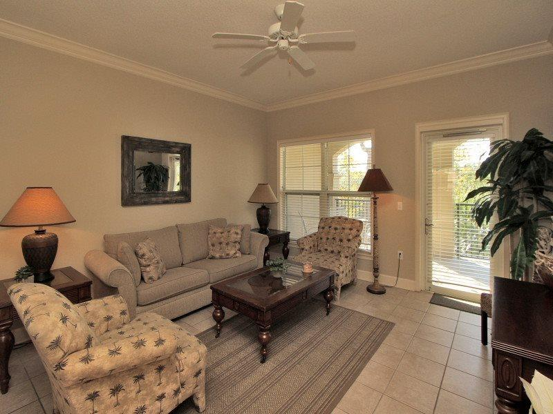 Living Room with Balcony Access at 205 North Shore Place - 205 North Shore Place - Hilton Head - rentals