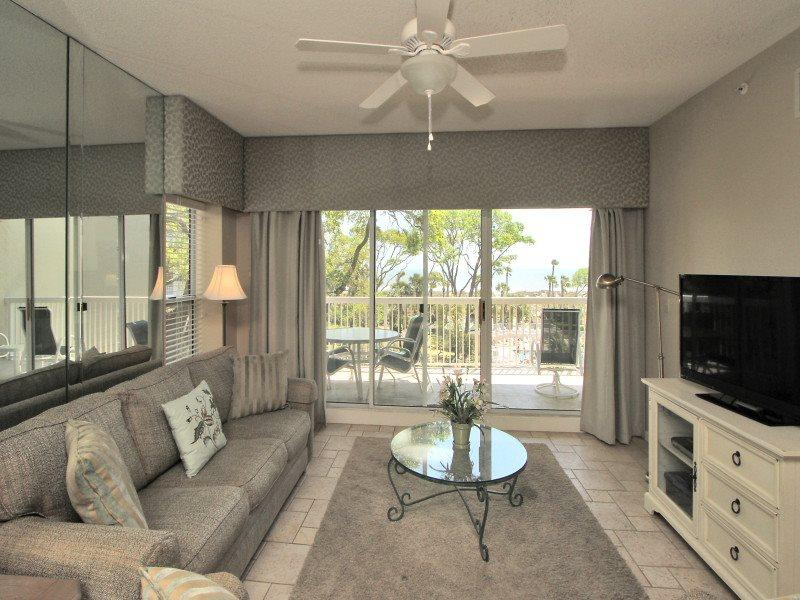 Living Room with Balcony at 302 Barrington Arms - 302 Barrington Arms - Hilton Head - rentals