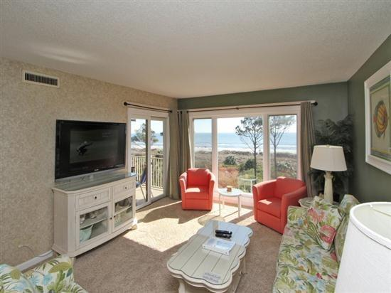 Living Room with Ocean Front Views at 409 Shorewood - 409 Shorewood - Hilton Head - rentals