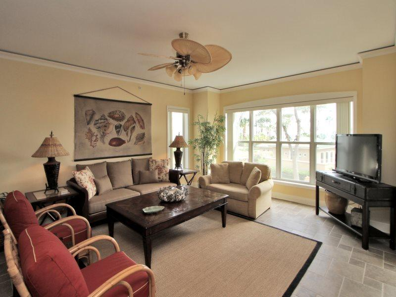 Living Room with Deck Access at 6101 Hampton Place - 6101 Hampton Place - Hilton Head - rentals