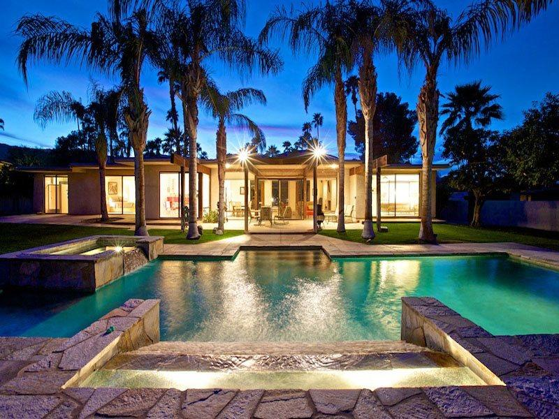 Looking Back to House at Night - H-House of Zen - Palm Desert - rentals