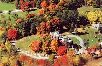 An arial view of the Wilburton in Fall. Drive on up and go back in time! - Wilburton Mansion, 30 acres, pool, tennis, VIEWS - Branson - rentals