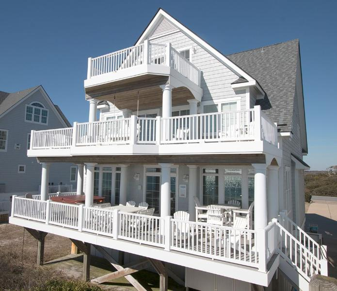 4266 from the beach - Island Drive 4266 Oceanfront! |  Internet, Community Pool, Hot Tub, Elevator, Game Equipment - North Topsail Beach - rentals