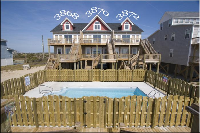 from beach - Island Drive 3870 Oceanfront! | Shared Pool, Internet - North Topsail Beach - rentals
