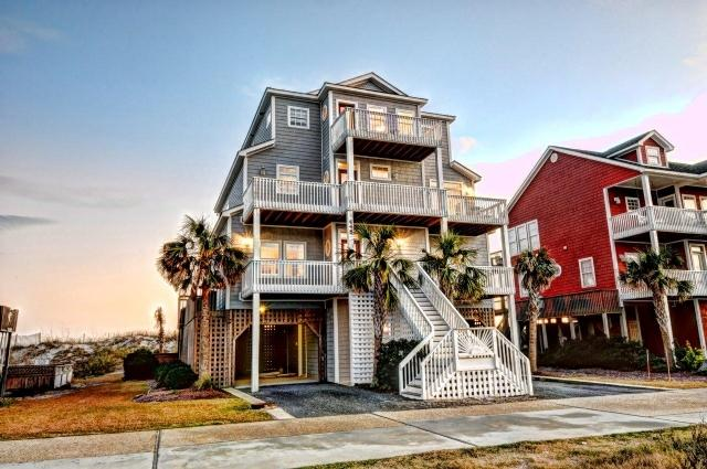 Twilight Shot - New River Inlet Rd 448 Oceanfront! | Private Heated Pool, Hot Tub, Jacuzzi, Internet, Fireplace - North Topsail Beach - rentals
