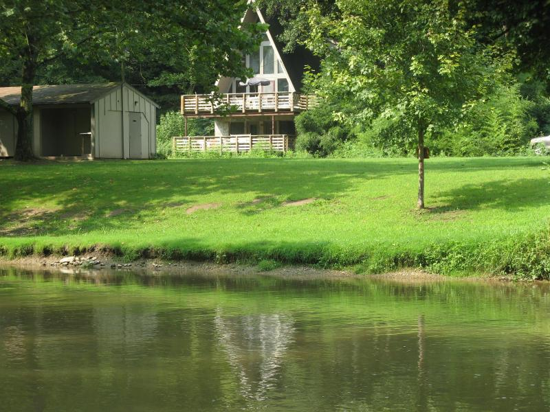 View of the property from across the creek - A-Frame on the Water at Historic Sickman's Mill - Pequea - rentals