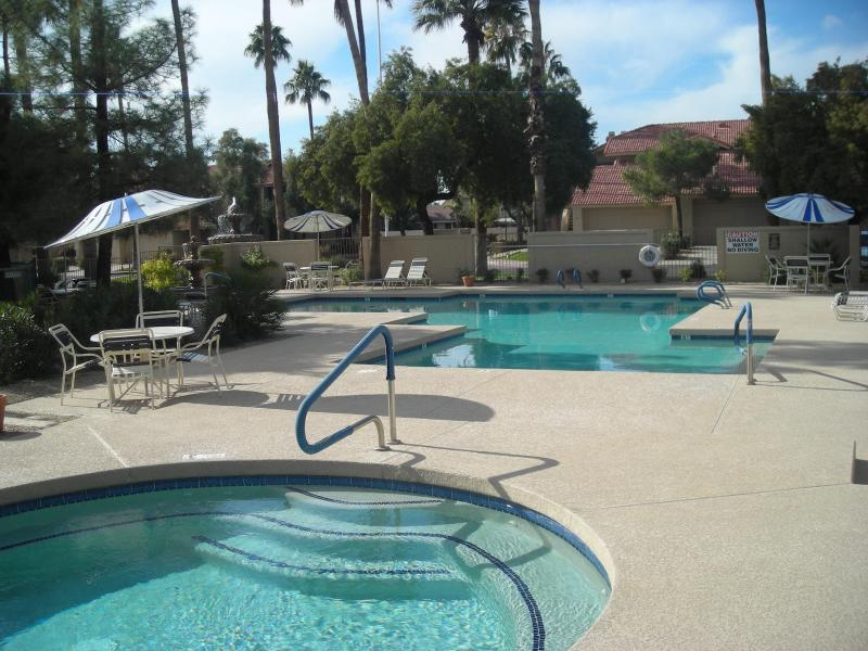 pool and jacuzzi - Two bedroom condo, scottsdale,az, vacation rental for month of   february, March and April 2014 - Scottsdale - rentals