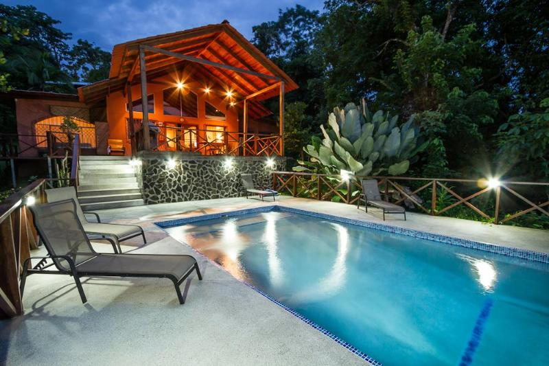 Pool with view of covered deck - Ooh-La-La. Paradise found. Walk to everything - Manuel Antonio - rentals