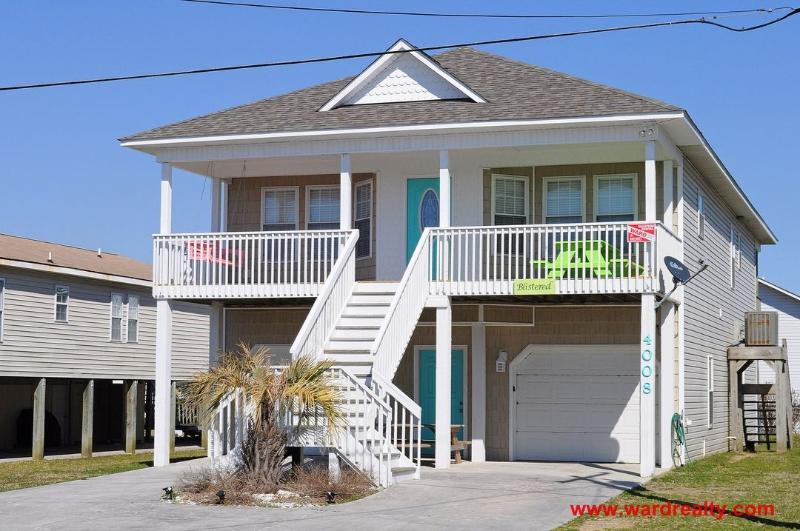 Streetside Exterior with Covered Porch - Blistered - Surf City - rentals