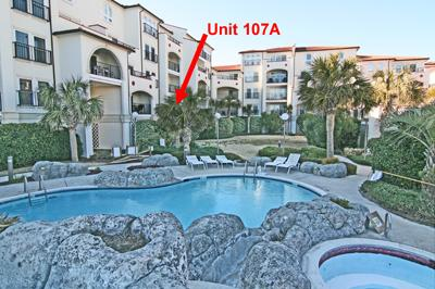 Location of unit from courtyard - Villa Capriani 107 A - North Topsail Beach - rentals