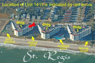 Aerial view of St. Regis Resort showing unit 1411 - St. Regis 1411 - North Topsail Beach - rentals