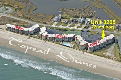 Aerial photo showing location of Unit 2305 - Topsail Dunes 3205 - North Topsail Beach - rentals