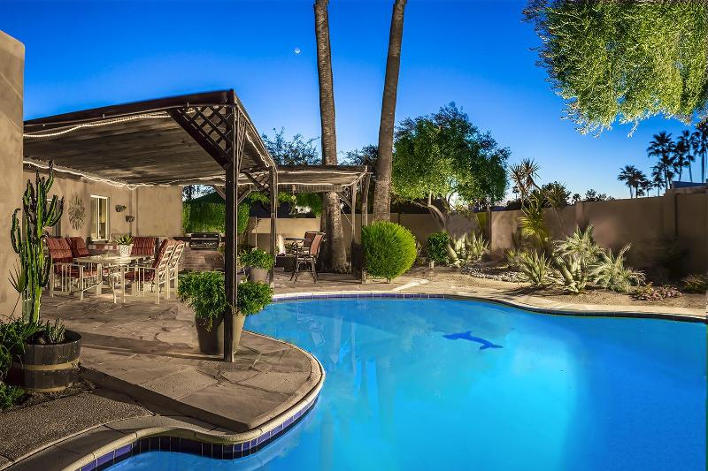 Gorgeous back yard with private pool, spa, outdoor fireplace, built in gas BBQ and much more! - Voltaire Estates - Scottsdale - rentals