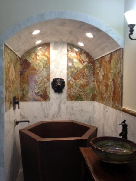 Master bath with copper soaking tub onyx tile - Italian Villa Entire House Renovated - Palm Beach Gardens - rentals