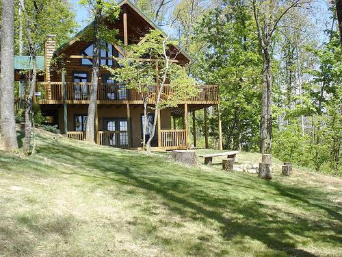 Front of Cabin, with fire pit  - Luxury, Secluded, WiFi, Pets, Fire Pit, more... - Sevierville - rentals