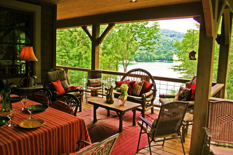 View of the Lake from the Porch on the Main Level - Luxury Lakefront Cabin - Fox Hollow Cottage - Cullowhee - rentals