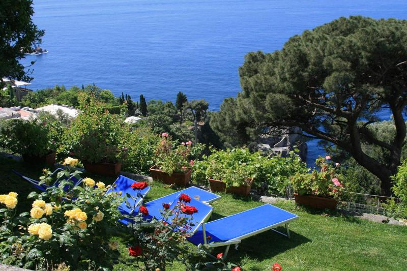 Lower garden with sun beds on soft grass carpet and great open sea view. - Villa Michara Praiano luxury house garden sea view - Praiano - rentals