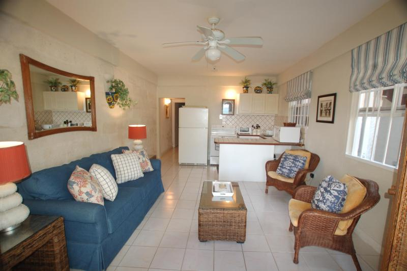 Tastefully Decorated Living Room - Cute One Bedroom  with Sea View Steps to Beach - Silver Sands - rentals