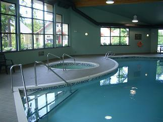 Pool and Jacuzzi so close that you can see the cottage through the window - Parksville Resort Cottage - Parksville - rentals