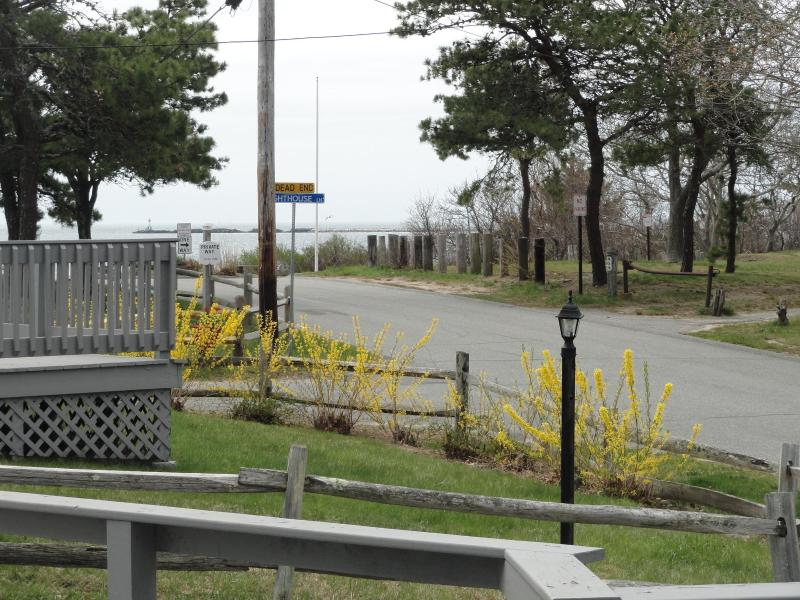 View of road to beach from cottage deck - steps to the beach - Pool, Beach, Cape Cod, 432 Sea Street, Cottage #6A - Hyannis - rentals
