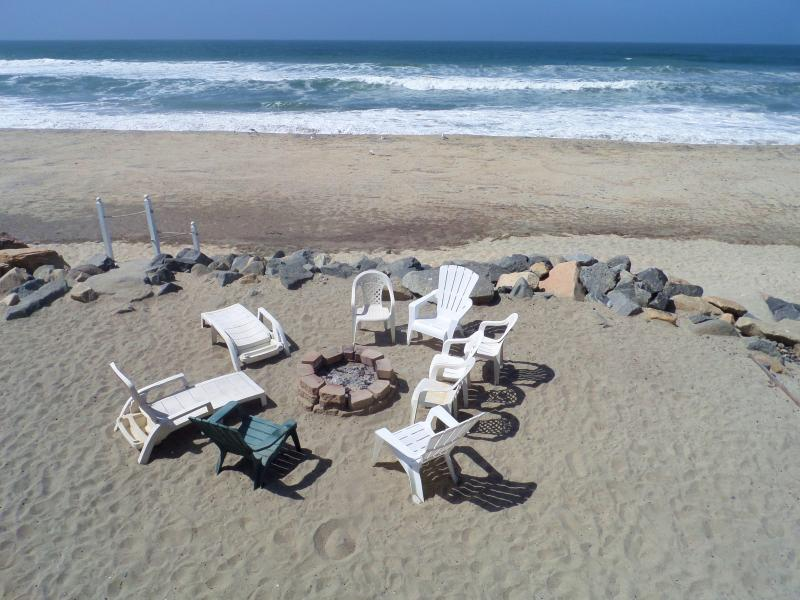 Closer view of Fire Pit on private beach - 1211, Oceanside, Beachfront, 7th night free! Surf! - Oceanside - rentals