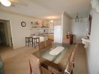Dining Area and Open Plan Kitchen - Big 2 Bedroom Beachfront Condo in St. Lawrence Gap - Saint Lawrence Gap - rentals