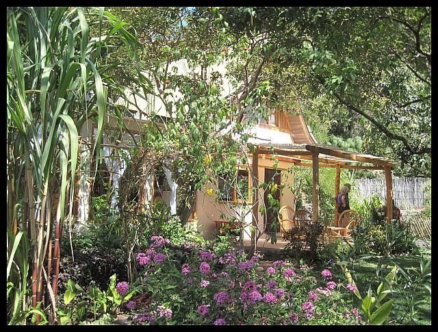 Front of house through gardens - Spacious, 3-Bed Garden Oasis, San Marcos - San Marcos La Laguna - rentals