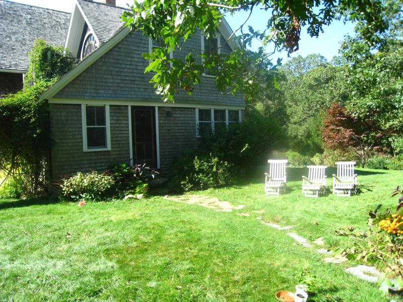 Large yard with out door shower - 4 Bedroom on 5 Acres of Woodlands with Fresh Eggs and Chickens - Chilmark - rentals