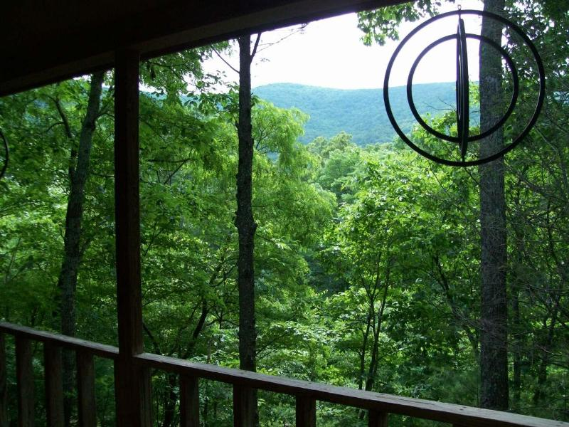 View from covered porch - Helton Falls Lodge-Cherokee Rose cabin-Vogel park - Blairsville - rentals
