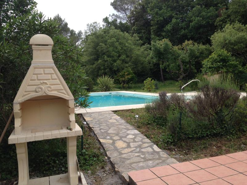 View of pool from outdoor patio - COTE D'AZUR: Villa with pool & 4000 sq m grounds - Mougins - rentals