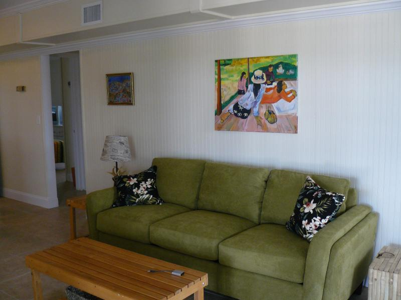"queen sleeper sofa in living room - Pineapple Beach Cottages  ""TROUT""  steps from the beach! - Saint George Island - rentals"
