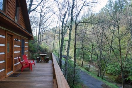 View from deck - Chasing Rainbows-Creekside_ Hot tub_ Wood Burning Fireplace_ Log Cabin_ Pet Friendly_ - Fleetwood - rentals