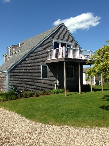 View from the driveway with deck off the upstairs living area - Tom Nevers House with Magnificent Ocean Views - Nantucket - rentals
