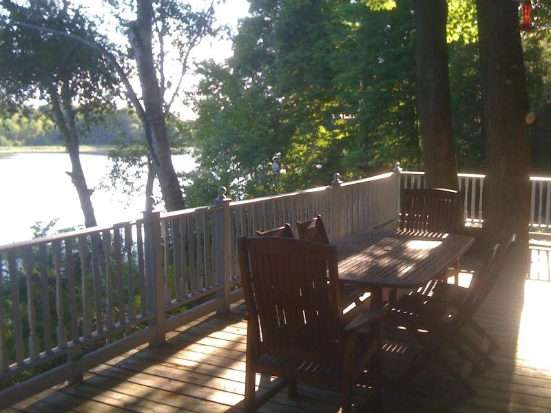 Deck and View of Little Cranberry Lake - 3 Bedroom Waterfront Cottage with Pool on Rideau - Honey Harbour - rentals