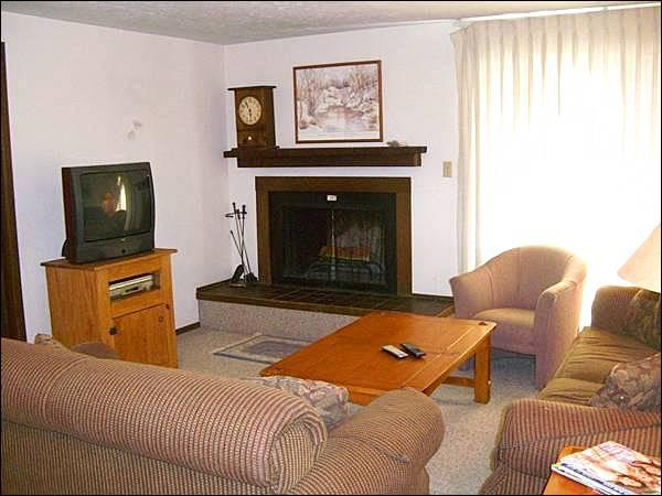 Living Room Features a TV, Wood-Burning Fireplace, and a Sleeper Sofa - Wonderful Family Accommodations - Hillside Views (1260) - Crested Butte - rentals