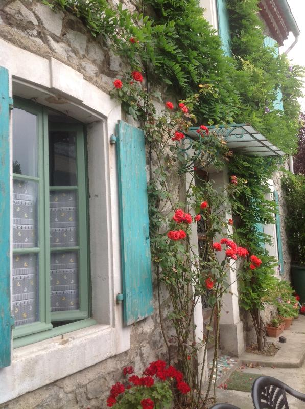 Rose & Wisteria facade.  - Stone house with shutters - Quillan - rentals