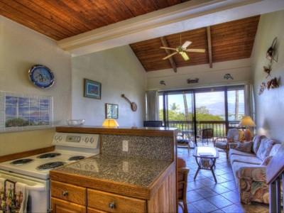 Open living space - vaulted ceiling, opens to lanai with ocean & mountain views - 2-Bedroom Loft Mountain View Condo - Kihei - rentals