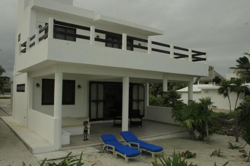 House viewed from the beach - Beachfront villa in quaint fishing village El Cuyo - Yucatan - rentals