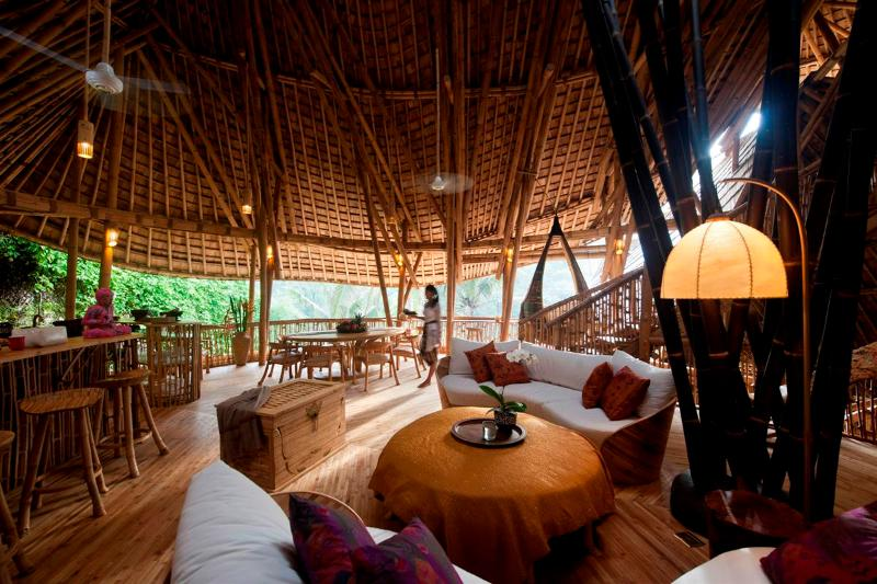 The bamboo architecture is breathtaking, and so are the river valley views. Ceiling fans visible top - Amazing 4 storey Luxury All Bamboo Home by River - Bali - rentals