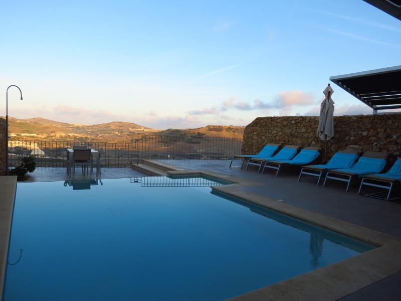 Pool Area at Sunrise - Harruba - Stunning Views, Private Pools, Sleep 6 - Xaghra - rentals