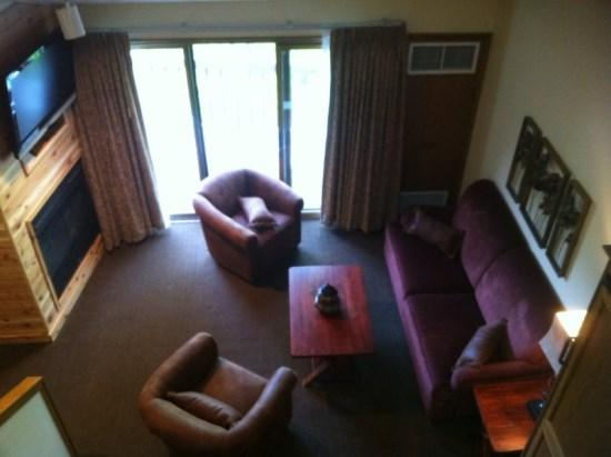 View of Living Room from Loft Area - Cozy Condo At Boyne Highlands, Walk to the Lifts and 1st Tee! - Harbor Springs - rentals